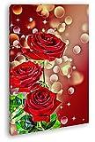 deyoli romantische rote Rosen Format: 100x70 Effekt: Zeichnung als Leinwand, Motiv fertig gerahmt auf Echtholzrahmen, Hochwertiger Digitaldruck mit Rahmen, Kein Poster oder Plakat