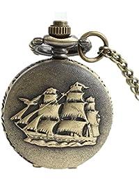 Maybesky Reloj de Bolsillo del Cuarzo del Vintage de la algarroba con la Cadena Larga para el Regalo de cumpleaños Caja de Regalo para cumpleaños Aniversario día Nav