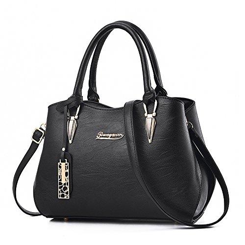 61d73bbde9 Sac a main femme noir, BESTOU PU cuir sac bandoulière femme sac de cours  femme