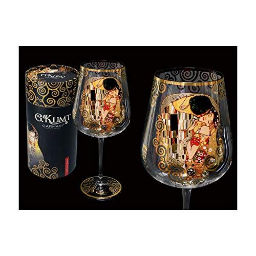 """CARMANI - Fancy Weinglas verziert mit Gustav Klimt""""Der Kuss"""", 800 ml"""