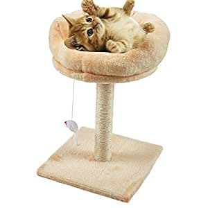 Pets Empire Cat Sisal Rope Furniture Scratcher with Plush Base and Hanging Toy (Colour May Vary) - Pack of 1