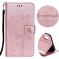 For iPhone XS Max Wallet Case, SibyTech® Flower Tree Design, PU Leather TPU Shockproof, Card Slots Magnetic Closure Stand Function Folio Flip Book Case Cover for iPhone XS Max 6.5 inch (Rose Gold)