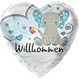 Elefant Willkommen Hellblau XL Ø 45cm | Folienballon Geburt | Helium Geeignet