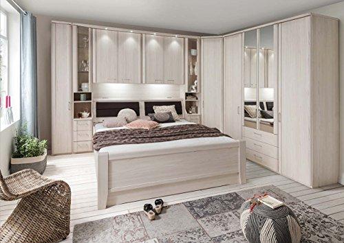 lifestyle4living Schlafzimmer, Schlafzimmerset, Schlafzimmermöbel, komplett, Komplettset, Schlafzimmereinrichtung, Drehtüren, Bettbrücke, Polar, Lärche,