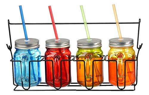 zeesline-lot-de-quatre-4-verre-couleur-16-oz-bocaux-mason-tasses-avec-poignees-couvercles-et-pailles