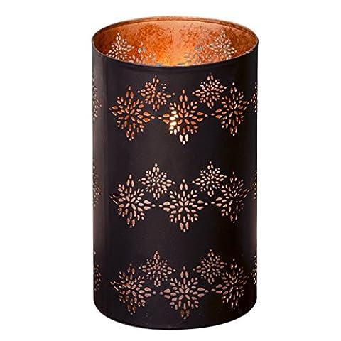 Superbe moderne avec découpe laser Incricate marocain Motif avec extérieur Noir mat et rose en cuivre Intérieur décoratifs Bougie Lanterne. Une Idée cadeau pour noël, anniversaire, ou d'une nouvelle Maison. H16X (P)