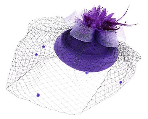 ox Hut Britischer Bowler Hut Blumen Schleier Hochzeits Hut Tee Party Hut (Dunkelviolett) (Kirche Halloween-event)