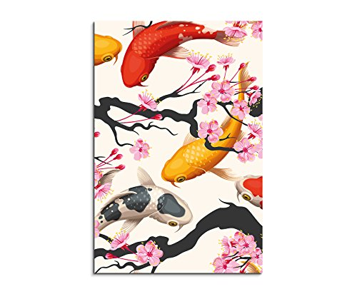 Fotoleinwand 90x60cm Bild – Kois und Kirschblüten (Blumen-prints Koi)