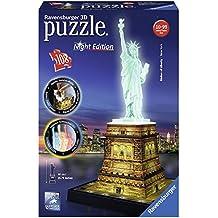 Ravensburger – Puzzle 3D 108pièces – Statue de la Liberté–Edition nocture