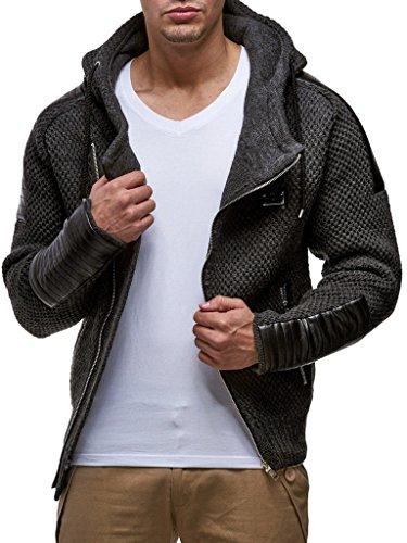 LEIF NELSON Herren Strick-Jacke mit Reißverschluss   Casual Strick-Hoodie Slim Fit   Moderner Männer Strick-Cardigan Langarm  