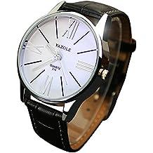 Reloj de pulsera de cuarzo para hombre Sonnena, de lujo, de piel, analógico