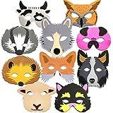 Blue Frog Toys 10 x Masken aus Schaumstoff, für Kinder, Design Wald- und Bauernhoftiere