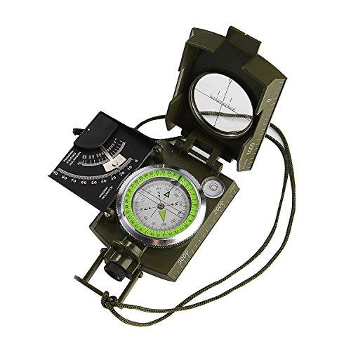 GWHOLE Militär Marschkompass mit Tasche für Camping, Wanderung, deutsche Anleitung