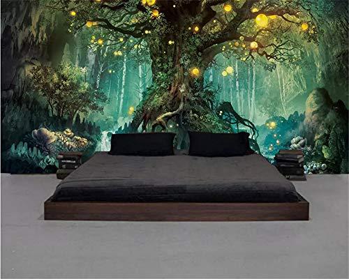 QBTE Benutzerdefinierte Größe schöne Traum Wald Klassische seidige 3D Tapete Baum Wohnzimmer TV Hintergrundbild Home decoration-200 * 140cm -