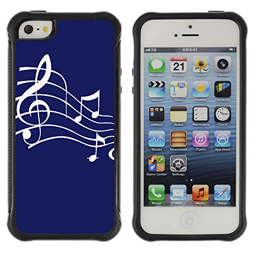 Graphic4You Musik Noten Muster Design Shockproof Anti-Rutsch Weichen Hülle Case Tasche Schutzhülle für Apple iPhone SE / 5 / 5S (Rot) Bleu Marin