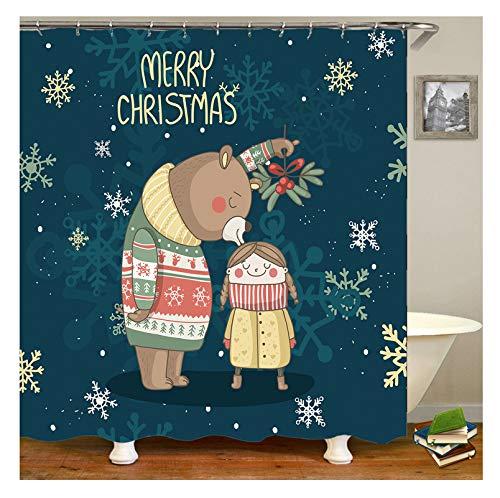 Knbob Duschvorhang Ornamente Weihnachtsbär Und Mädchen Coloful Duschvorhang Mit Duschvorhangringen Coloful 165X180Cm