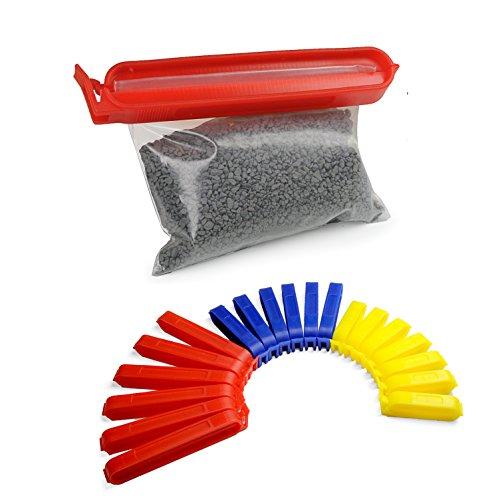 Verschluss-Klammern / Verschluss-Clips bunt, 20 Stück im Set, Aroma-Clips für Küche zum praktischen Verschließen von Tüten, Farbe: Rot / Blau / Gelb - Marke YOUZiNGS
