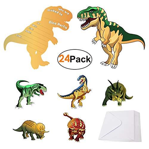 BeeGreen Kindergeburtstag-Einladungskarten-Jungen-Dinosaurier-Party Geburtstagseinladungen 24 Pack, Englisch Dino Einladungen Karten, Jungen Mädchen Geburtstagsparty Zubehör