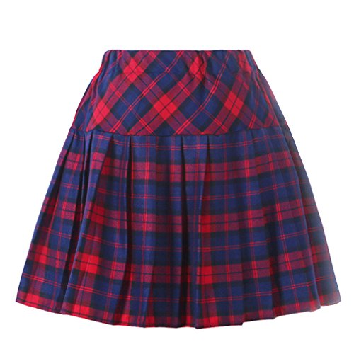 Frauen Plaid Elasticated Short Plissee Schule Kostüme Blau mixed Rot Medium - Blue School Uniform Pleated Skirt