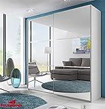 Schwebetürenschrank Kleiderschrank 541020 weiß mit Spiegel und Strass 200cm