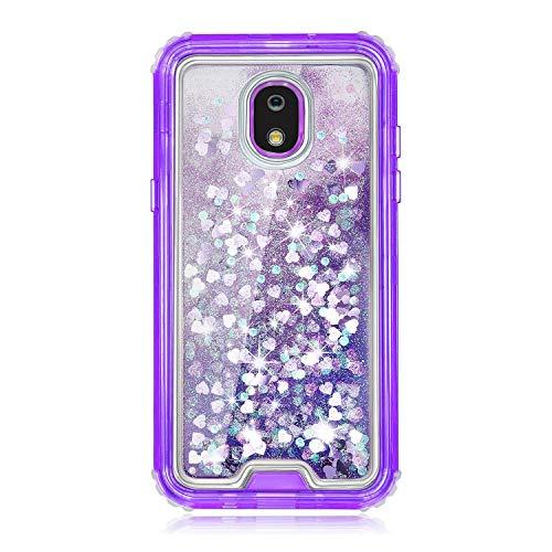 TurtleArmor Schutzhülle für Samsung Galaxy J7 (2018) J737, passgenau, doppellagig, TPU, mit fließender Flüssigkeit, Wasserfall, Quicksand Glitzer, glitzernde Herzen -, violett