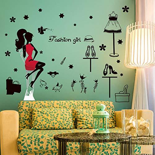 Moderne dame glas fenster tür aufkleber kleidungsgeschäft zeichen glas fenster aufkleber einkaufen mädchen wandaufkleber laden aufkleber
