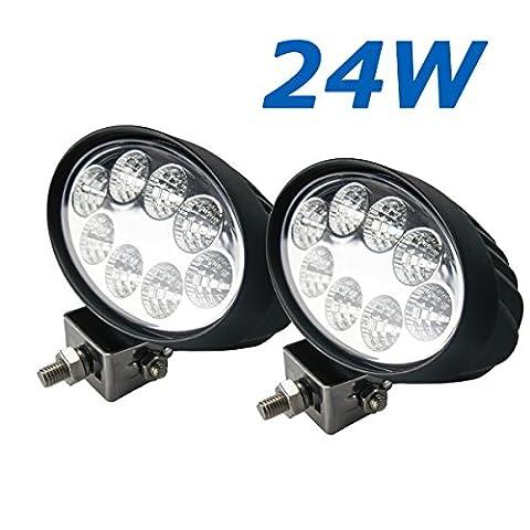 BRIGHTUM 18W/24W/45W LED Arbeitsscheinwerfer weiß12V 24V Reflektor work light Scheinwerfer Arbeitslicht Offroad SUV UTV ATV Arbeitslampe - Traktor - Bagger (24W)