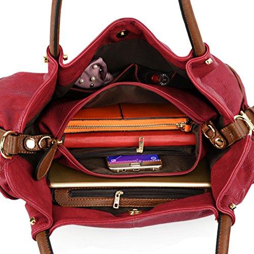 UTO Damen Handtasche Set 3 Stücke Tasche PU Leder Shopper klein Schultertasche Geldbörse Trageband schwarz rot