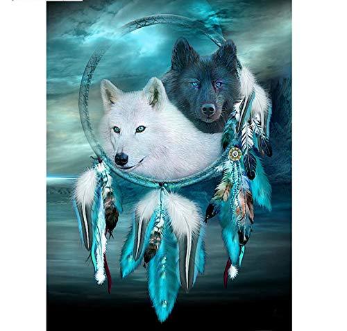 Volle Quadrat/Runde Diamant 5D Diy Diamant Malerei Indische Wolf Feder Diamant Kreuzstich Strass Mosaik Malerei Dekor Geschenk-50X65Cm -