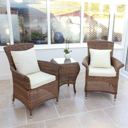 Outdoor Patio-möbel-set (Oseasons cb002set-pan-2-jh Panama Garten Patio Outdoor Rattan Möbel Set von 2Stühle mit Tisch)