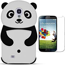 Hcheg funda de silicona diseño negro panda para Samsung Galaxy S4 I9505 - Un diseño elegante y una protección óptima +1XProtector de pantalla