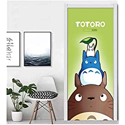 laoniebaozhuang Porte Autocollant Decal PVC Étanche Art Décor À La Maison Mon Voisin Totoro Costume Autocollant pour Acier 90X215Cm