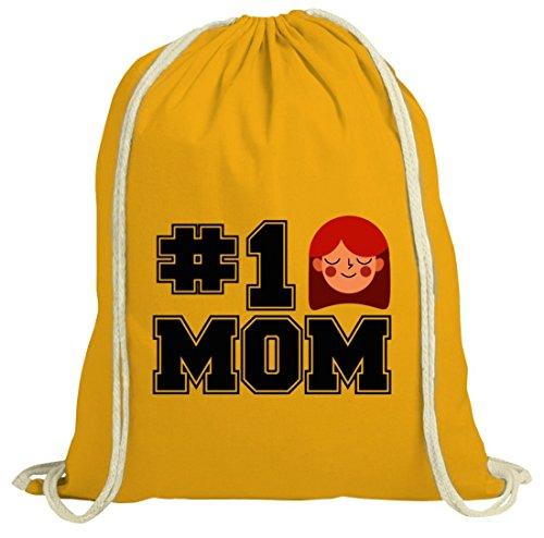 Geschenkidee natur Jutebeutel Stoffbeutel mit Number 1 Mom Motiv von ShirtStreet gelb natur
