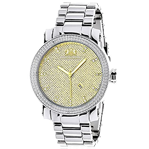 LUXURMAN Mens Diamond Watch 0.12ct Two-Tone Gold Plated Stainless Steel
