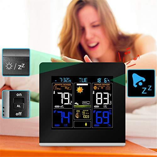 WTOKL Wetterstation Farbdisplay Wettervorhersage Multi-Funktions-USB-Ladetakt Temperatur- und Feuchtigkeitsanzeige Radiowelle