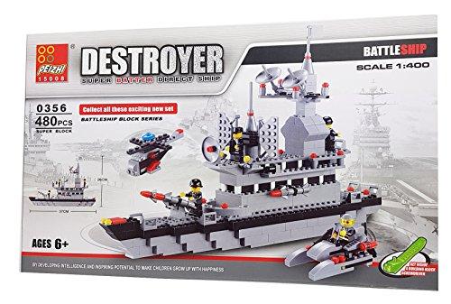Peizhi Bausteine Kriegsschiff Battleship mit Hubschrauber und Motorboot 480 TLG