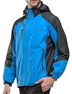 Hombre/Mujer Al Aire Libre Montaña Impermeable Windbreaker Softshell Chaqueta Con Capucha Zafiro XL