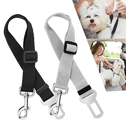 Nasharia Hunde Sicherheitsgurt Auto, Hunde Sicherheitsgurt Katzen Auto Sicherheitsgeschirre Hunde, Einstellbar Hundegurt mit Elastische Ruckdämpfung für Alle Hunderassen(2 Stück) -