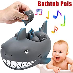 Toy Sale,Baby Bath Toys, Shrilling Rubber Cute Shark Family Bathtub Pals Floating Bath Tub Toy For Kids