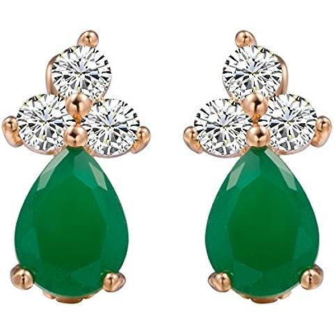 Romántico Tiempo Mujer Diamond Clover Felicity Jade Verde Lágrima Pendientes largos