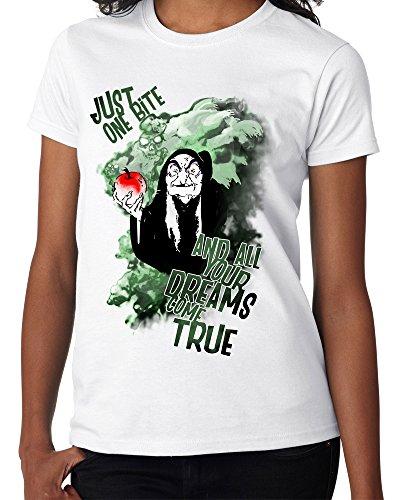 Disney Villain : Wicked Queen/Witch - Poison Apple Snow White - Ladies White Tee Shirt
