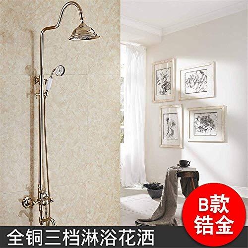 Titan Rose Gold moderne Kupfer Wasserhahn antike Dusche Dusche Booster Top Spray 360-Grad-Drehung Free Lift Set (Farbe: Blech B) - Spa Top Sheet