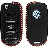 PhoneNatic Funda de de cuero real stitched para mando de 3 botones de VW Passat en negro Llave plegable de 3-Key