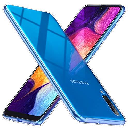 TesRank Cover Samsung Galaxy A50, Funda de TPU de silicona suave de gel suave transparente transparente, antideslizante para Samsung Galaxy A50-Transparente