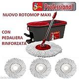 Rotomop Maxi Professional + n.° 4 Mop Mocio Ricambio + Manico Acciaio
