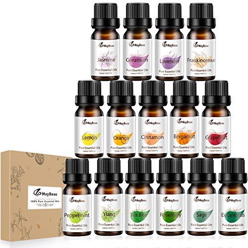 MayBeau Ätherische Öle Set 15 x 5 ml ätherisches Öl 100% Pur & Naturreines Aromatheraphie Duftöl Geschenkset Lavendel, Orange, Zitrone, Ylang und mehr für Diffuser Duftlampen Geeignet -