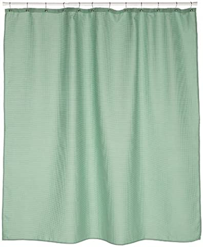 Carnation Home Fashions Waffle Weave Fabric Shower Curtain, Sage by Carnation Home Fashions