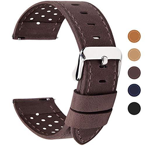Fullmosa 6 Farben für Uhrenarmband mit Schnellverschluss, Breeze Serie Leder Ersatzband geeignet für Armbanduhr Herren&Damen,22mm Kaffeebraun