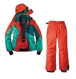 Skianzug 2tlg. Funktioneller Skianzug Für Damen Gr. 40 M-2 Farbe. Rot-Grün-Blau Schneeanzug