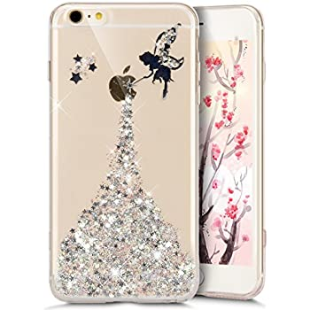 iphone 5s gold case for girls. iphone se case,iphone 5s 5 crystal clear bling glitter case,ukayfe fairy angel girl pattern ultra slim transparent soft gel tpu silicone iphone 5s gold case for girls o
